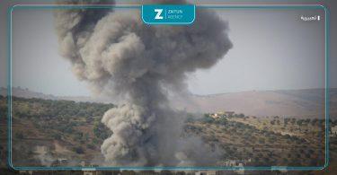 قصف دمار دفاع مدني إدلب غارة طائرات روسية دخان