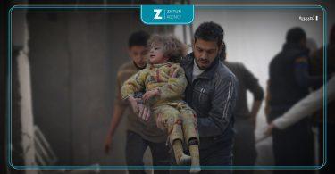جرحى أطفال شهداء قصف غارات تصوير : aboalfeda