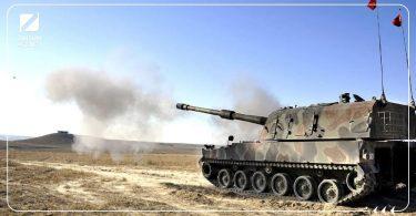 قصف تركي دبابة تركية مدفعية تركية المدفعية التركية