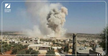 قصف غارة قوات الأسد نظام الأسد إدلب حلب دخان شهداء جرحى
