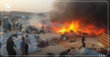حريق حرائق مخيم مخيمات خيم
