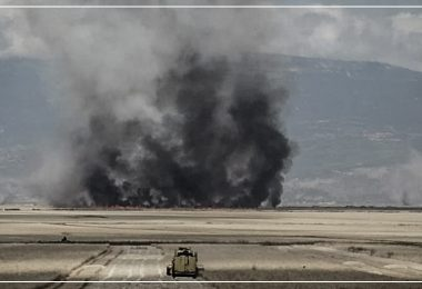 حريق - حرائق - محاصيل زراعية - ريف حماة - سهل الغاب